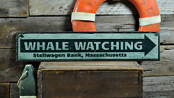 Custom Whale Watching City State Arrow - Handmade Vintage Wooden Sign