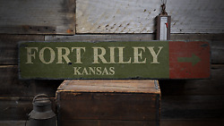 Fort Riley Custom Military Fort Riley - Rustic Distressed Wood Sign