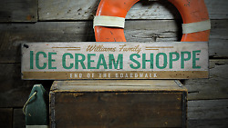 Ice Cream Shoppe End Of The Boardwalk - Rustic Distressed Wood Sign