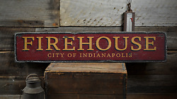City Firehouse, Custom Fire Dept. - Rustic Distressed Wood Sign
