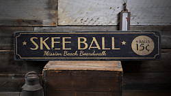 Skee Ball, Custom For Game Room Decor - Rustic Distressed Wood Sign
