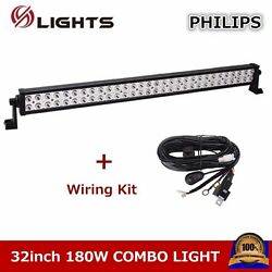 32inch 180w Led Light Bar S/f Combo Driivng Offroad Atv Ute Suv With Wiring Kit