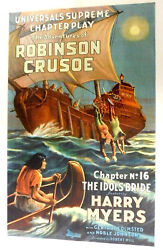 The Adventures Of Robinson Crusoe 1922 Silent Film Universal Serial Movie Poster