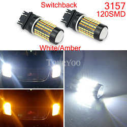 2x 3157 High Power White Amber Dual Color Switchback LED Turn Signal Light Bulbs