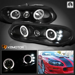 For 1998 2002 Chevy Camaro LED Halo Projector Headlights Black Lamps LeftRight