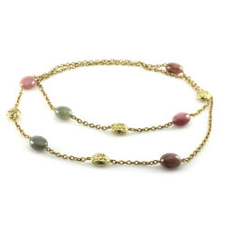 Signed Designer Yvel Sapphire & Textured Gold Bead Necklace in 18KY Gold  FJ