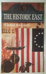Original Vintage Travel Poster United Airlines Historic East 1970's Pin-up Usa
