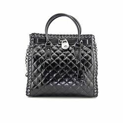Michael Kors Hamilton Hippie Grommet Large North South Tote Quilted Black