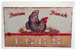 Chicken Farm Fresh Eggs Sign TinPlastic Retro Wall Plaque Vintage Country
