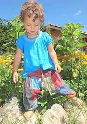 Fairtrade Childrenand039s Kids Harem Trousers Girls/boys Hippie Festival Clothes Baby