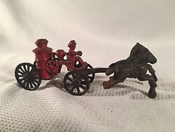 Vintage Cast Iron Horses Pulling Fire Pumper Wagon Toy