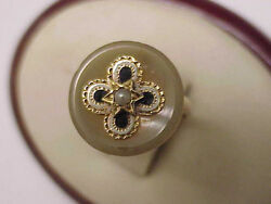 Victorian 10k Yg Genuine Agate And Seed Pearl Magen David Star Enameled Ring 1800s