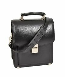 Mens Real Leather Small Briefcase Style Cross Body Organiser Shoulder Bag Black
