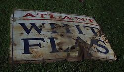 Large Porcelain Atlantic White Flash Sign - Ford Chevy Plymouth Gas Oil Signs Gm