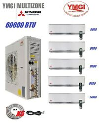 YMGI 60000BTU FIVE ZONE DUCTLESS SPLIT AIR CONDITIONER WITH HEAT PUMP WALL MOUNT