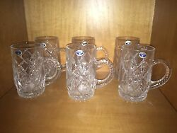 New  Old Stock Bohemia  24% Lead Crystal Beer Steins Mugs Bohemian Czech