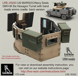 Live Resin 1/35 Us Marsoc/navy Seals Gmv-m Six Hexagon Turret W/ammo Cradle Back