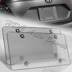 2 X Tinted Clear/smoke Protector License Plate Frame Shield Cover Front And Rear