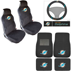 New Nfl Miami Dolphins Car Truck Seat Covers Steering Wheel Cover Floor Mats Set
