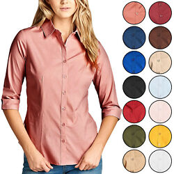 Kogmo Womenand039s Classic Solid 3/4 Sleeve Button Down Blouse Dress Shirt S-3x