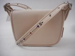 Coach F59380 Studded Strap Patricia Saddle Bag 23 White Refined Leather Xbody