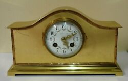 French 8 Day Brass Cased Mantel Clock - Andpound595
