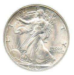 1939-s Walking Liberty Half Dollar Ngc Ms 66 Old Holder Cac Approved
