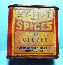 Vintage Rare Hy-zest Brand Cloves Cardboard Spice Tin Top And Bottom