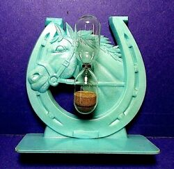 Vintage Plastic Horse Head And Horseshoe Sand Egg Timer Made In Great Britain