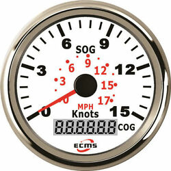 Ecms Marine Car Gps Speedometer Gauge 0-15knot 9-32v 85mm 316l Chrome White