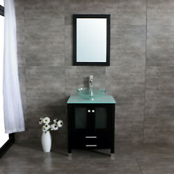 25 Single Bathroom Vanity Cabinet Solid Wood W/ Glass Sink Faucet Mirrors