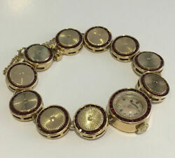 Ladies Lucien Picard Vintage Wristwatch 14k Yellow Gold And Synthetic Rubies.