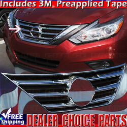 For 2016 2017 2018 Nissan Altima Chrome Grill Cover Upper Bumper Overlay