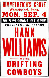 Hank Williams And His Drifting Cowboys - 1950 - Womelsdorf Pa - Concert Poster