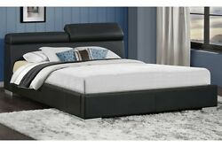 3pc Queen Size Contemporary Manjot Bedroom Set Softly Black Pu Silver Finish Leg