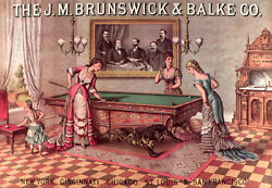 Decoration Poster.billiards Pool Tables Vintage Ad.victorian Graphics.1879