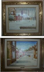2pcs. Andre Bouquet Winter Scenes 1975 Oil Painting Set Of Two Scenes Framed