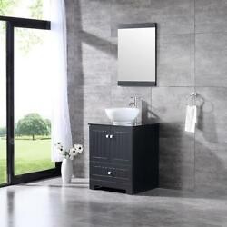 24.4 Bathroom Vanity Cabinet W/ Ceramic Sink Tempered Glass Countertop And Mirror