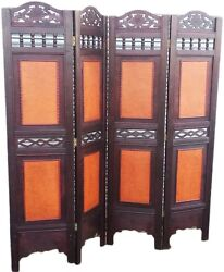 Oriental 4 Panels Wood Screens Room Dividers Privacy Wall Seperators Office Home