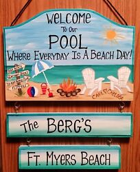 Personalized Beach Pool Sign Hand Painted for Patio Yard Home $89.00