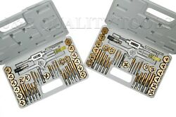 80 Pc Piece Titanium Metric And Sae Size Inch Steel Tap And And Die Tool Set Kit