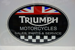 Triumph Motorcycles Sales Parts And Service Steel Enamel Dealer Sign. Never Hung.