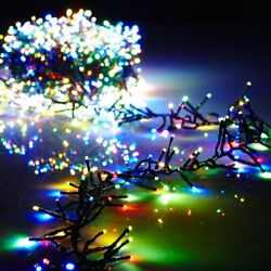 19.6' Cluster Led Garland 600-light Green Wire Remote Christmas Raz G3737060 New