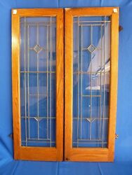 Four 100 Yr Old Solid Oak Leaded-glass Bookcase Doors - All Original - Antique