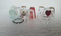 Highly Collectible Lot Of 8 Cristal/glass Vintage Thimbles + Free Gift