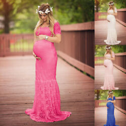 US Pregnant Womens Lace Short Sleeve Long Maxi Maternity Dress Photography Props