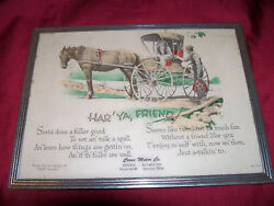 Rare Antique Dodge Plymouth Ad Advertising Sign Picture Cliff Noble Car Auto Old