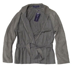 3,395 Purple Label Womens Italy Grey Suede Leather Belted Jacket