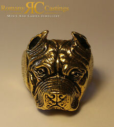 Pit Bull Terrier  Ring  cast in 9ct Solid Gold 25 grams Fully Stamped 30mm