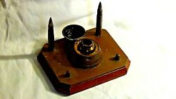 Antique Rare Military Artifact Copperbronze Inkwellsigned On Top.